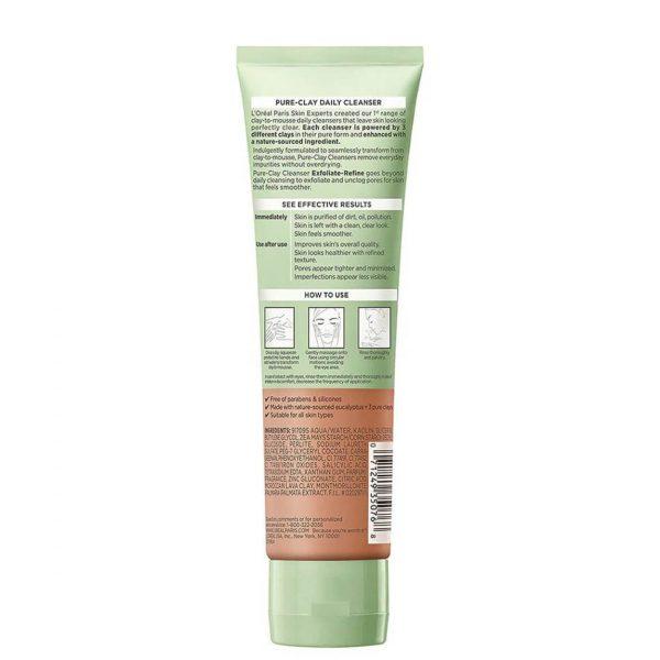 L'Oreal Pure Clay Cleanser Exfoliate & Refine 130ml